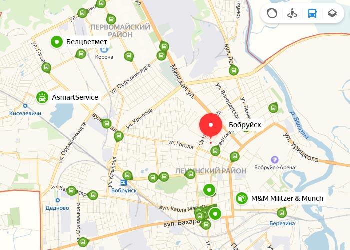 Яндекс транспорт Бобруйск онлайн отслеживание маршрутов