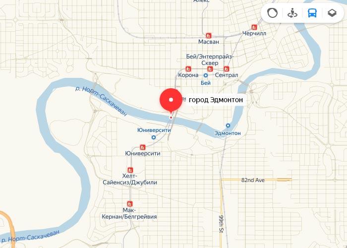 Яндекс транспорт Эдмонтон онлайн отслеживание маршрутов