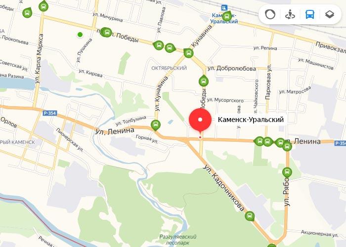 Яндекс транспорт Каменск-Уральский онлайн отслеживание маршрутов