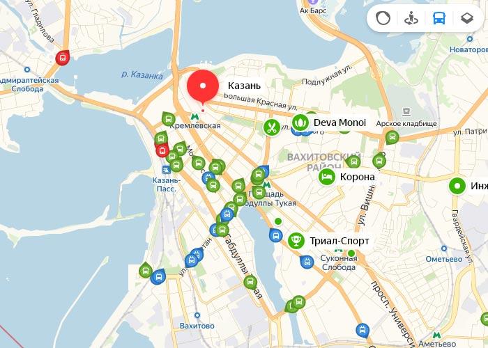 Яндекс транспорт Казань онлайн отслеживание маршрутов