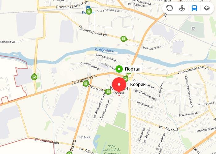 Яндекс транспорт Корбин онлайн отслеживание маршрутов