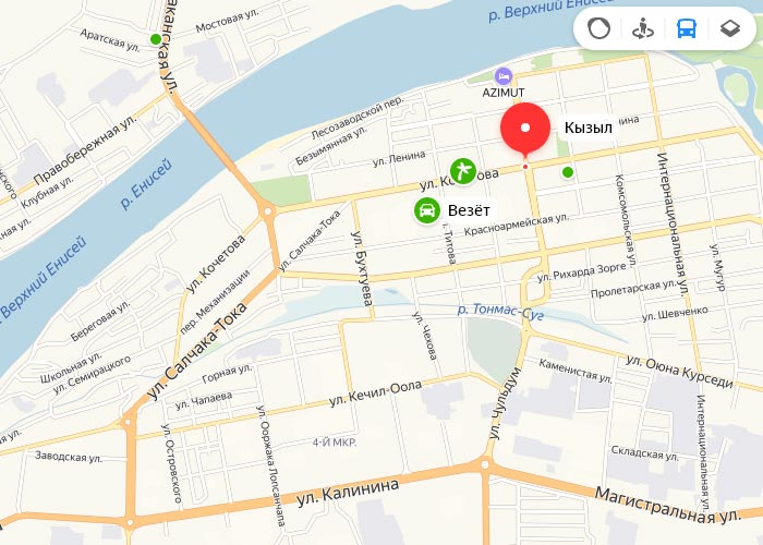 Яндекс транспорт Кызыл онлайн отслеживание маршрутов
