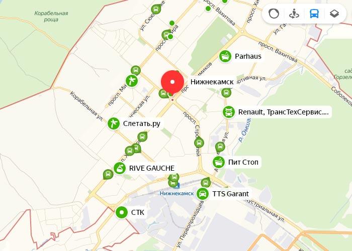 Яндекс транспорт Нижнекамск онлайн отслеживание маршрутов