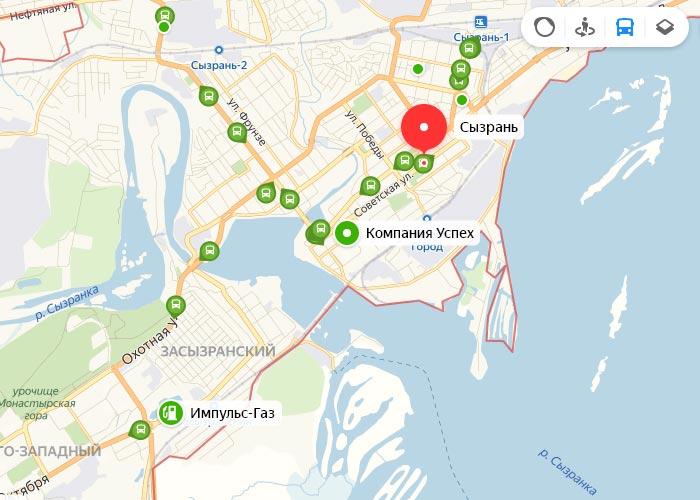 Яндекс транспорт Сызрань онлайн отслеживание маршрутов