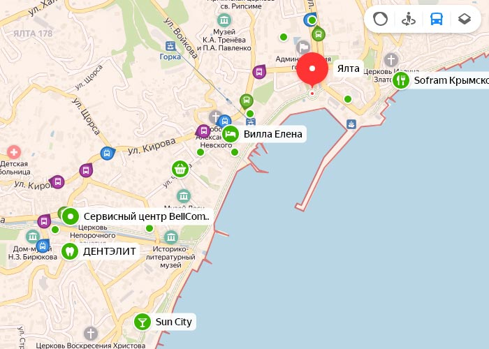Яндекс транспорт Ялта онлайн отслеживание маршрутов