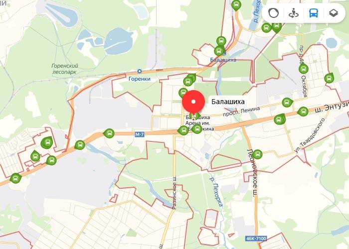 Яндекс транспорт Балашиха онлайн отслеживание маршрутов