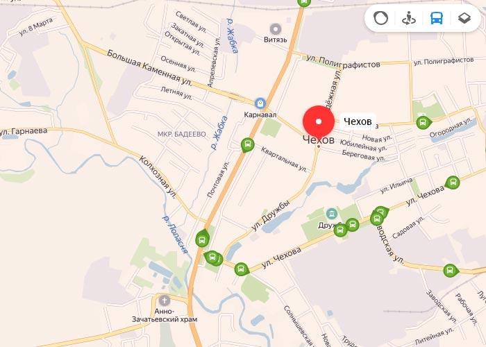 Яндекс транспорт Чехов онлайн отслеживание маршрутов