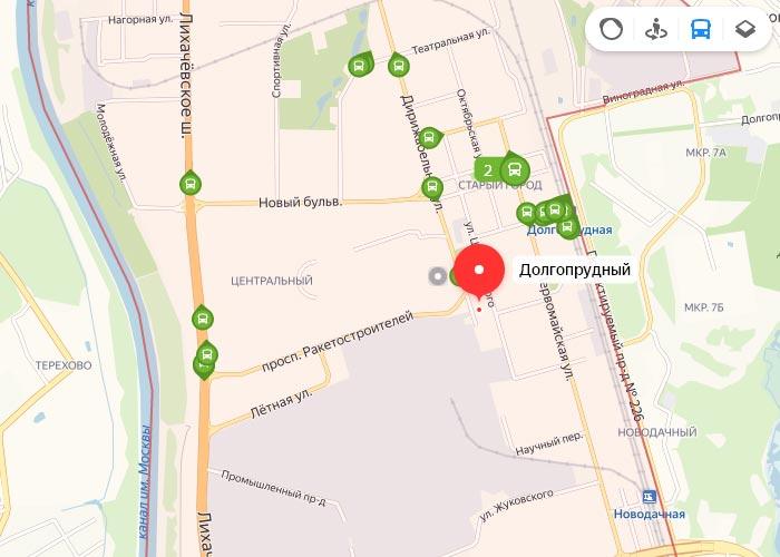Яндекс транспорт Долгопрудный онлайн отслеживание маршрутов