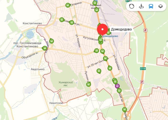 Яндекс транспорт Домодедово онлайн отслеживание маршрутов