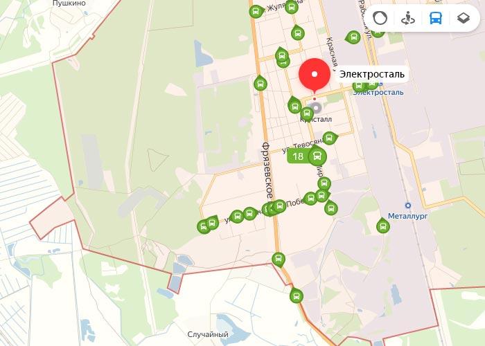 Яндекс транспорт Электросталь онлайн отслеживание маршрутов