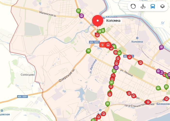 Яндекс транспорт Коломна онлайн отслеживание маршрутов