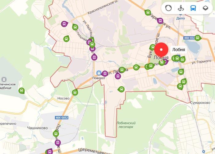 Яндекс транспорт Лобня онлайн отслеживание маршрутов