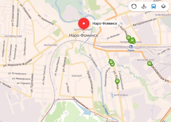 Яндекс транспорт Наро-Фоминск онлайн отслеживание маршрутов
