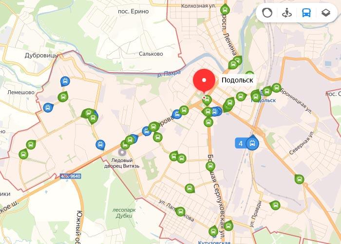 Яндекс транспорт Подольск онлайн отслеживание маршрутов