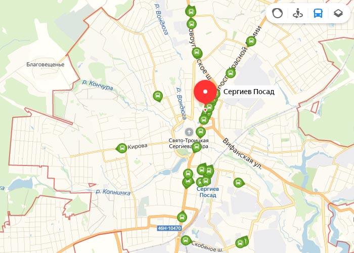 Яндекс транспорт Сергиев Посад онлайн отслеживание маршрутов