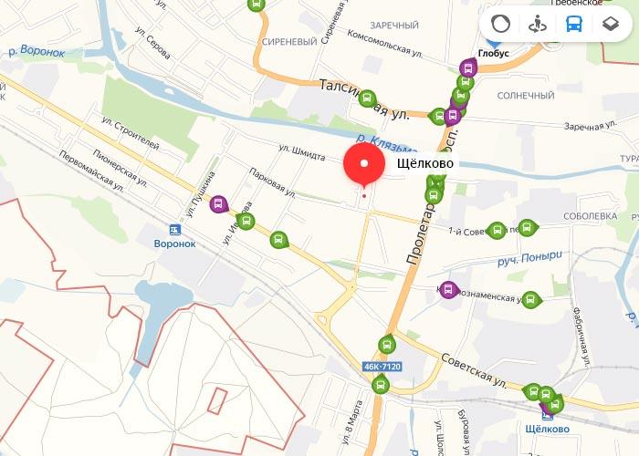 Яндекс транспорт Щёлково онлайн отслеживание маршрутов