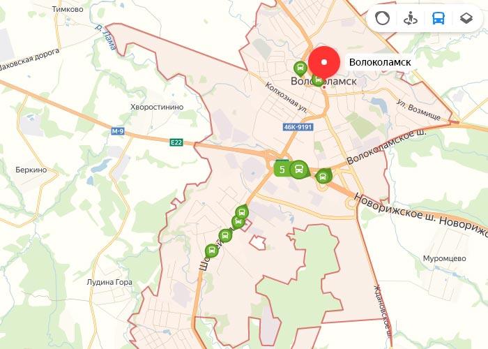 Яндекс транспорт Волокаламск онлайн отслеживание маршрутов