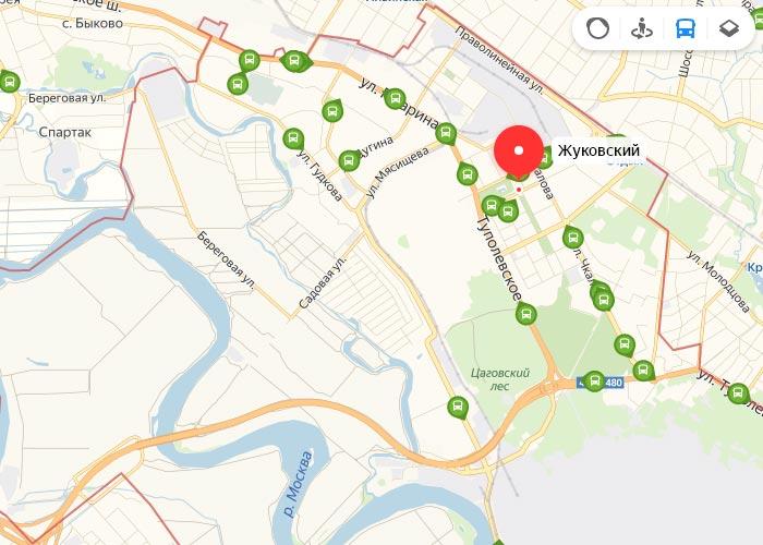 Яндекс транспорт Жуковский онлайн отслеживание маршрутов